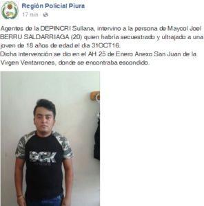 Captura de pantalla Facebook Región Policial.